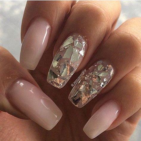 Gold flake nails | Nail Inspo | Pinterest | Flakes, Gold and Nail nail