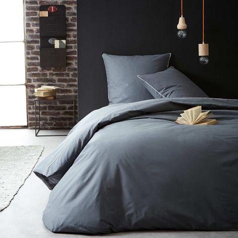 Parure de lit uni avec liseré dentelle gris Linge de lit