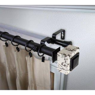 Instyledesign Elena 1 Inch Diameter Adjustable Double Curtain Rod