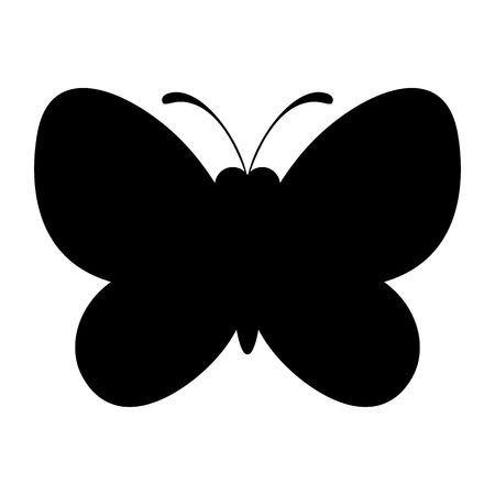 Zwarte Vlinder Silhouet Icoon Natuur Symbool Silhouet Vlinders Symbolen