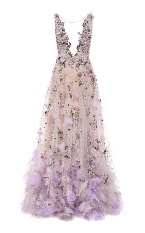Embroidered Floral-Appliquéd Organza Gown