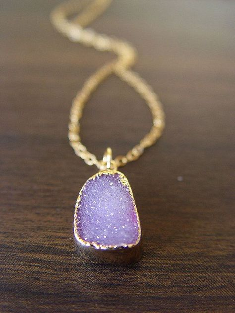 Lilac amethyst druzy Necklace by friedasophie on Etsy , Lovely jewels , Purple jewelry, Pastel color trends