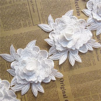 1 Yard 3D Flower Lace Trim Ribbon Wedding Embroidered Applique DIY Sewing Craft