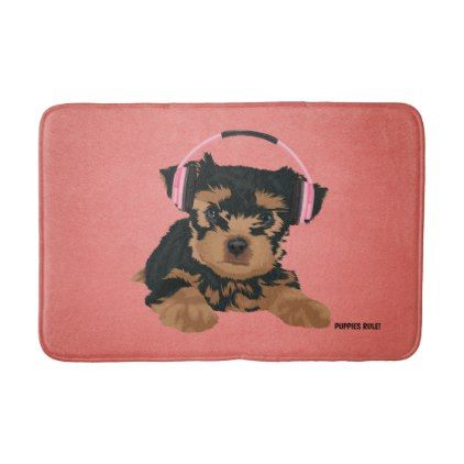 Yorkshire Terrier Yorkie Puppy Dog Pink Headphones Bath Mat