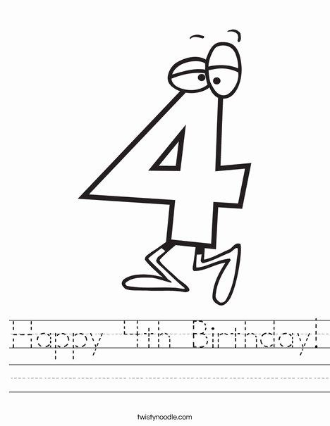Number Four Coloring Page New Happy 4th Birthday Worksheet Twisty Noodle Coloring Pages Birthday Coloring Pages Paw Patrol Coloring