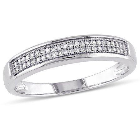 Miabella 1 8 Carat T W Diamond Men S Wedding Band In 10kt White Gold Men Sjewelry Mens Diamond Wedding Bands Mens Wedding Bands White Gold Wedding Bands