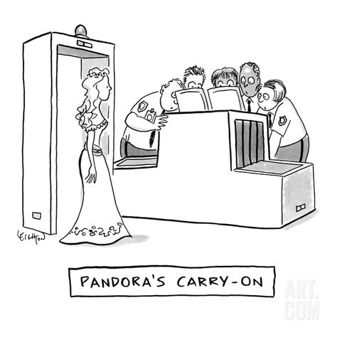 "This can't end well: ""Pandora's Carry-on"" - New Yorker Cartoon Premium Giclee Print by Robert Leighton at Art.com"