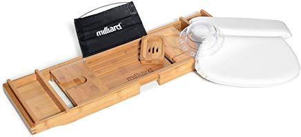 Milliard Ultimate Bath Spa Kit Includes Bamboo Bath Caddy Tray Suction Bath Pillow Overflow Bathtub Drain Cover Set Bathtub Drain Bathtub Caddy Drain Cover