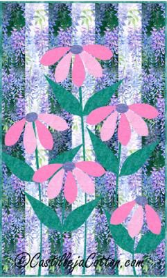 Ribbon Cone Flowers Quilt Pattern Cjc 416311 In 2020 Quilt Patterns Quilted Wall Hangings Quilts