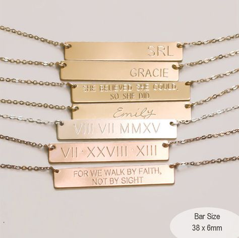 b5d7cf611a92c Custom Bar Necklace, Personalized Engraved Name Plate Necklace ...