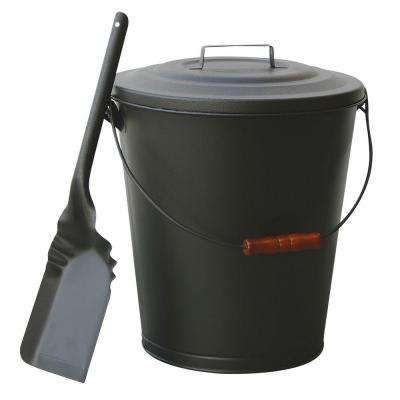 Olde World Iron Finish Ash Bin With Lid And Shovel Clean Fireplace Fireplace Accessories Fireplace Tool Set
