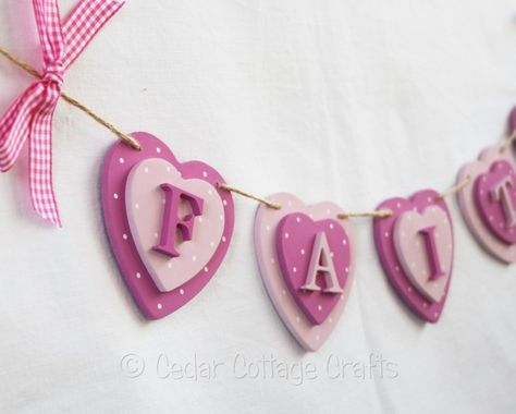Personalised Wooden Heart Bunting Baby Gift keepsake