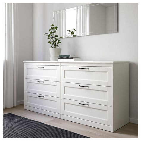 IKEA - SONGESAND, Chest of 6 drawers, white, Of course your home should be a safe place for the entire family. That's why a safety fitting is included so that you can attach the chest of drawers to the wall. Smooth running drawers with pull-out stop. Ikea Dresser, Dresser Drawers, White 6 Drawer Dresser, Ikea Chest Of Drawers, Dresser Ideas, Ikea White Drawers, Ikea Storage Drawers, Closet Dresser, Brown Dresser