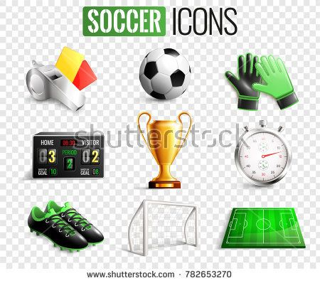 Stock Vector Soccer Set Of Icons With Referees Objects Goal Trophy Ball Boots Isolated On Transparent Background Vector Illustra Football Icon Soccer Icon