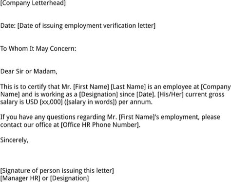 employment verification letter template for excel pdf and word - sample employment verification letter