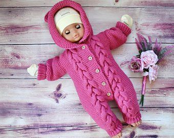 Knitted Baby Jumpsuit Set Warm and Stylish Handmade Baby Romper Made by Order