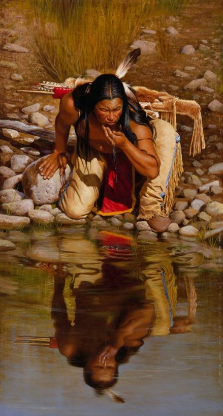 The Brave Warrior, the Wanderer, as he touches the water, the flow of life, to be refreshed and renewed -- Artwork by Alfredo Rodriguez !!