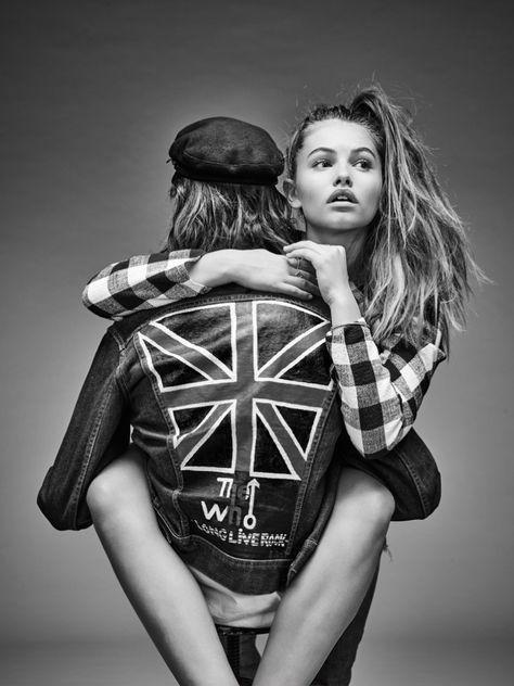 Model Thylane Blondeau poses in Zara plaid shirt