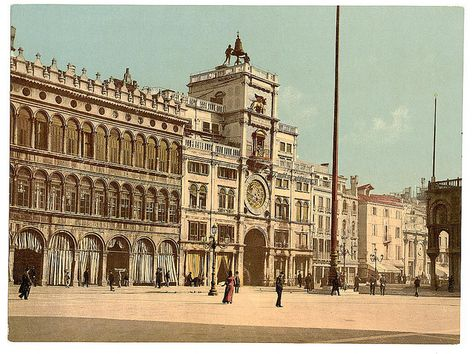 Clock tower (torre dell'Orologio), Piazzetta di San Marco 1890-1900...I see pigeons!