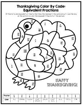 Thanksgiving Color By Number Equivalent Fractions Equivalent