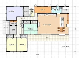 ゆったりしたldkのあるl字型の平屋建ての間取り 平屋建て住宅 間取りと価格 間取り 住宅設計プラン 住宅 間取り
