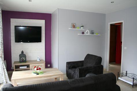 photo décoration salon prune et gris | À acheter | Pinterest ...