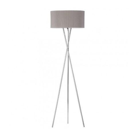Metal 1 Light Tripod Floor Lamp with Shade Chrome (3.545 UYU) ❤ liked on Polyvore featuring home, lighting, floor lamps, three legged floor lamp, metal lighting, metal shade, three leg floor lamp and tripod lights