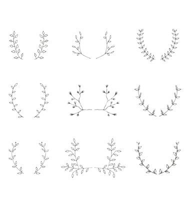 Hand-drawn branches graphic design elements set vector. Laurel leaf frame by Anastasiaartdes on VectorStock®