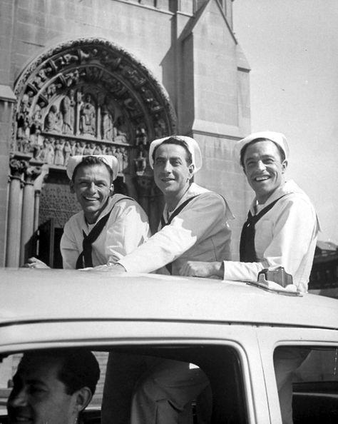 ON THE TOWN (1949)  starring Frank Sinatra, Gene Kelly, Vera Ellen, Ann Miller, Betty Garrett, and Jules Munshin.  One of the 1st movies filmed on location (in New York).  Fun dance sequences