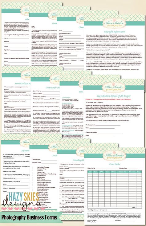 12 Photography Business Forms Kit Contract by hazyskiesdesigns - photography services contract