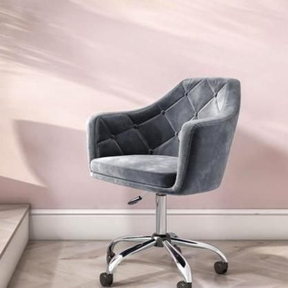 Marley Grey Velvet Office Swivel Chair With Button Back 129 In 2020 Grey Desk Chair Swivel Office Chair Bedroom Desk Chair