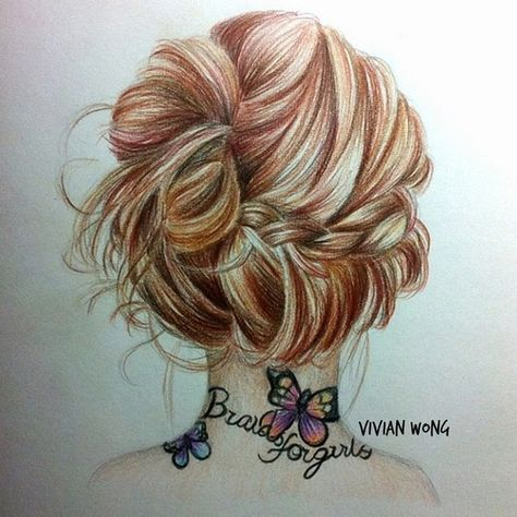 Hairstyle Bun Girl Tatoo Neck Drawing SP Pinterest - Drawing a hairstyle