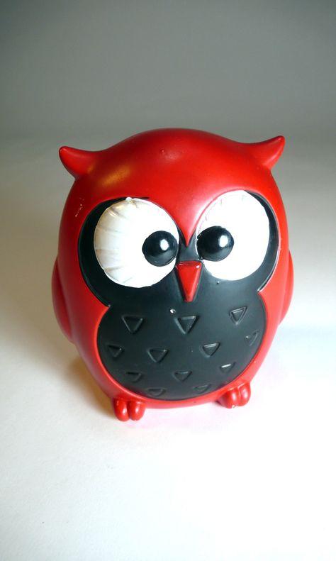 forest friends, vintage red MOD OWL japanese ceramic figurine bank - so…
