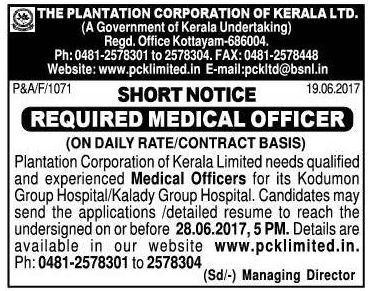 The Plantation Corporation Of Kerala Ltd Required Medical Officer