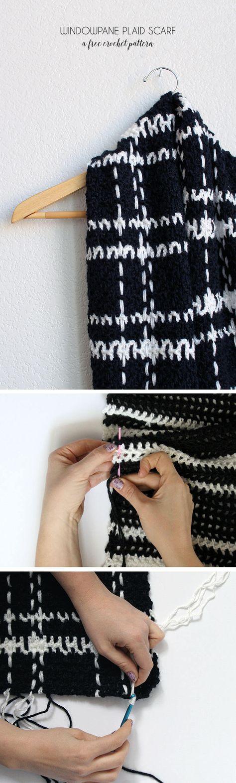 Windowpane Plaid Scarf - Free Crochet Pattern