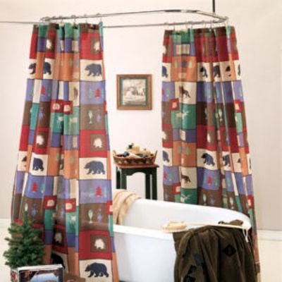 The Woods Bear Moose Cabin Shower Curtain Liner Set
