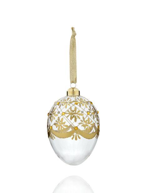 Golden Egg-Shaped Glass Christmas Bauble