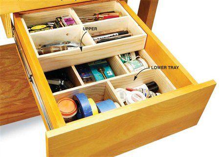 Deep Drawer Organizer The Woodworker S Shop American Woodworker Deep Drawer Organization Organized Desk Drawers Desk Drawer Organisation