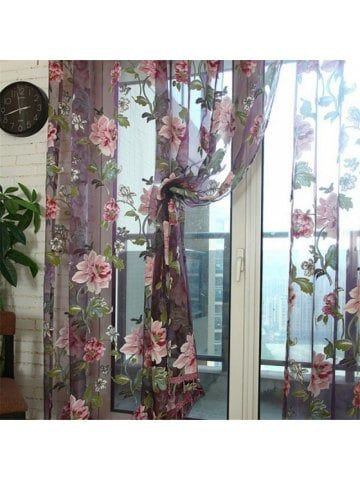 Large Peony Pattern Home Bedroom Living Room Balcony Window Screening Curtain Decor Curtains Drapes Curtains
