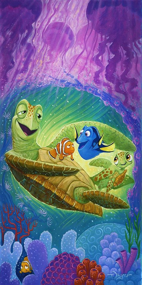Finding Nemo Walt Disney Fine Art Tim Rogerson Signed Limited Edition of 195 on Canvas