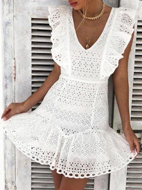 JARTINI Bohemia White V-neck Mini Dresses – Jartini mini dresses formal mini dresses summer short dresses party fashion dress simple dresses styles dress beautiful vacation clothes dresses#dresses#summerdresses  #outfitsdresses#fashiondress#simpledresses#casualdresses