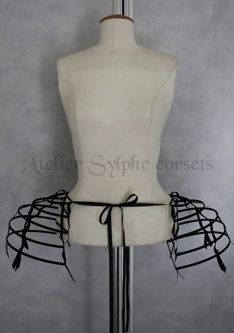 Two pieces worn together double pannier black ribbon and lacing Crinoline long cage hoop bustle. Only the fantasy crinoline black bustle