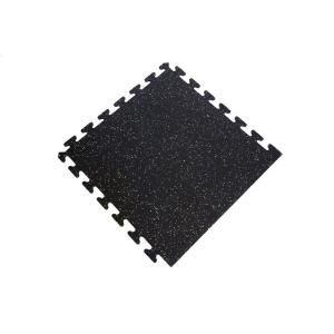 Ottomanson Multi Purpose Black 24 In X 24 In Eva Foam Interlocking Anti Fatigue Exercise Tile Mat 6 Pack Rubber Flooring Rubber Floor Tiles Recycled Rubber