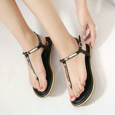 Sandal Plat Wenny Hitam Sepatu Wanita Sepatu Sandal