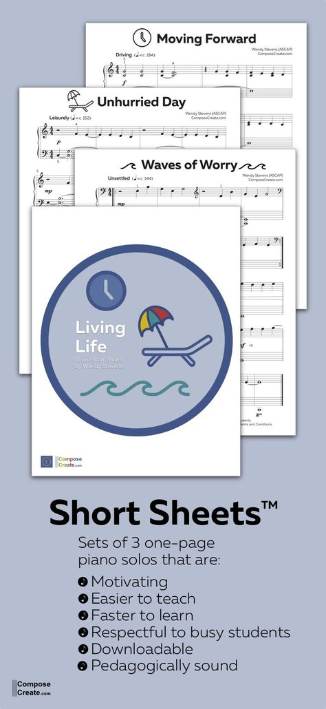 Mature and contemporary set of Short Sheets™ for your busy preteen, teen and adult piano students. Students will be more motivated because they are learning music more quickly, and they are easier to teach online for faster progress. #piano #easy #lesson #teaching #teach #pedagogy #piece #pieces #short #shorter #solo #solos #teacher #repertoire
