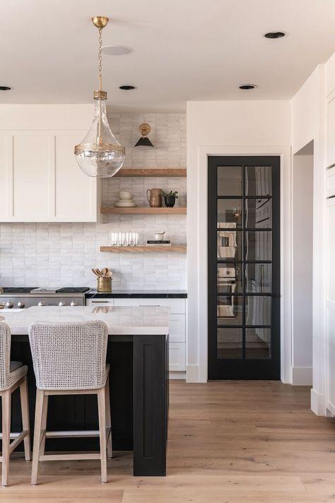 New Kitchen, Kitchen Decor, Neutral Kitchen, Interior Exterior, Interior Design, Minimalist Kitchen, Porcelain Countertops, Home Kitchens, Dark Paint Colors