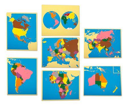 Montessori Large Puzzle Maps of Continents Set (no cabinet ...
