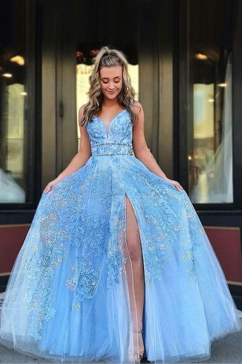6909f693e80d Gorgeous Light Ssky Blue Long Prom Dress Satin Evening Dress Formal ...