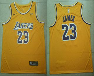 purchase cheap 6f465 fe7af Men's Los Angeles Lakers #23 LeBron James Yellow 2018-19 ...