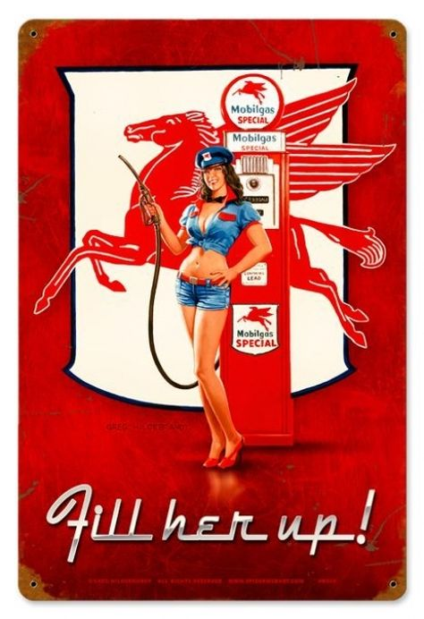 JackandFriends.com - Retro Fill Her Up  - Pin-Up Girl Metal Sign 24 x 36 Inches, $99.97